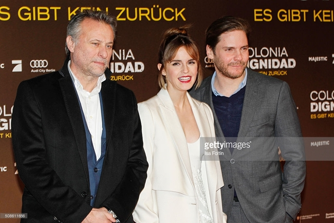BERLIN, GERMANY - FEBRUARY 05: Michael Nyqvist, Emma Watson and Daniel Bruehl attend the 'Colonia Dignidad - Es gibt kein zurueck' Berlin Premiere on February 05, 2016 in Berlin, Germany. (Photo by Isa Foltin/WireImage)