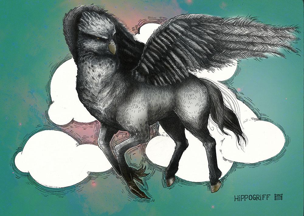 Sitemize özel yapılmış Hipogirf çizimi. Çizim: Aslı Ekim