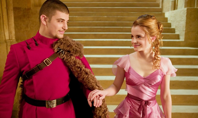 "STANISLAV IANEVSKI and EMMA WATSON as Hermione Grange in Warner Bros. Pictures' movie ""Harry Potter and the Goblet of Fire."" photo by Murray Close. Warner Bros. Pictures"