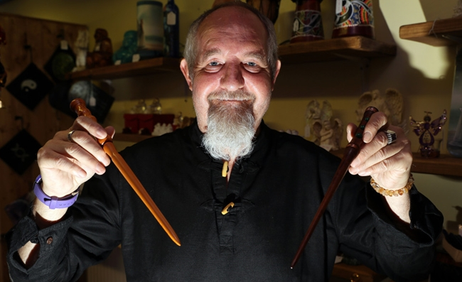 Copyright Ben Lack Photography Ltd Richard Carter of Mystical Moments who sells magic wands in Huddersfield but has banned Harry Potter fans because the owner thinks they don't appreciate real magic. Words Mark Branagan. Pic Ben Lack 07970 850611 £150 minimum use, irrespective of any previous use. £50 for internet use, irrespective of any previous use.