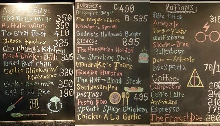 Hogwarts Kafe Menü
